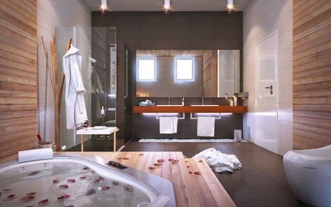 дизайн на тоалетна и баня с джакузи