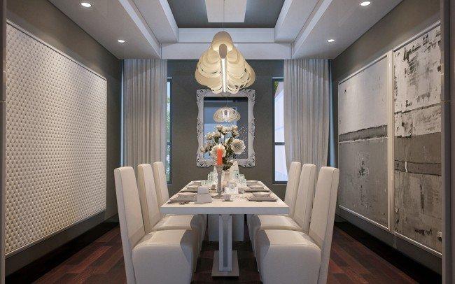 модерен дизайн на трапезария с бели мебели