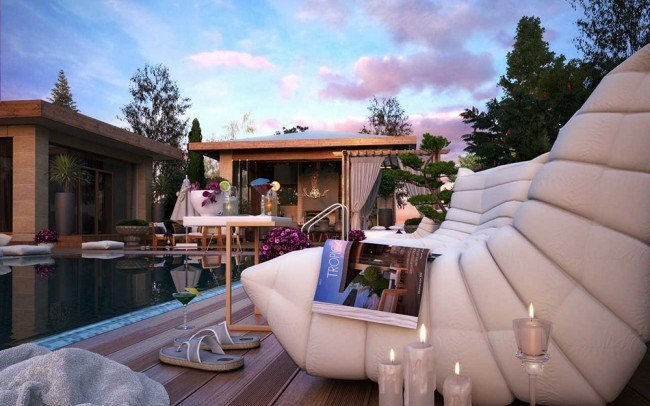 идеи за мебели около басейн
