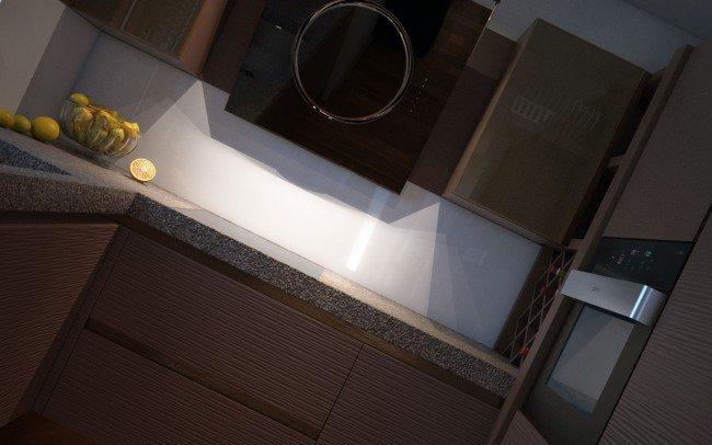 интериорен дизайн на кухня в кафяво