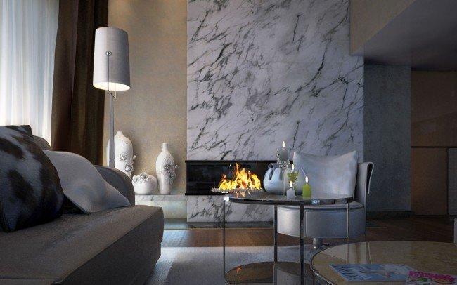 интериорен дизайн на дневна с камина