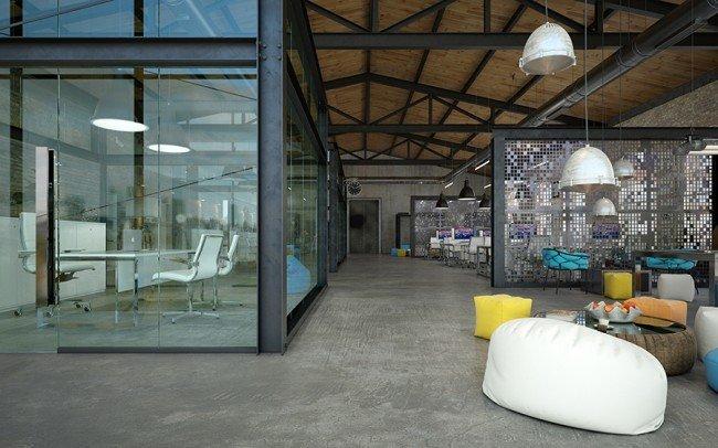 open space офис със зона за релакс в свежи цветове