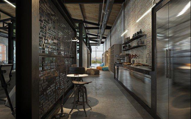 дизайн на модерна кухня с бар в офис