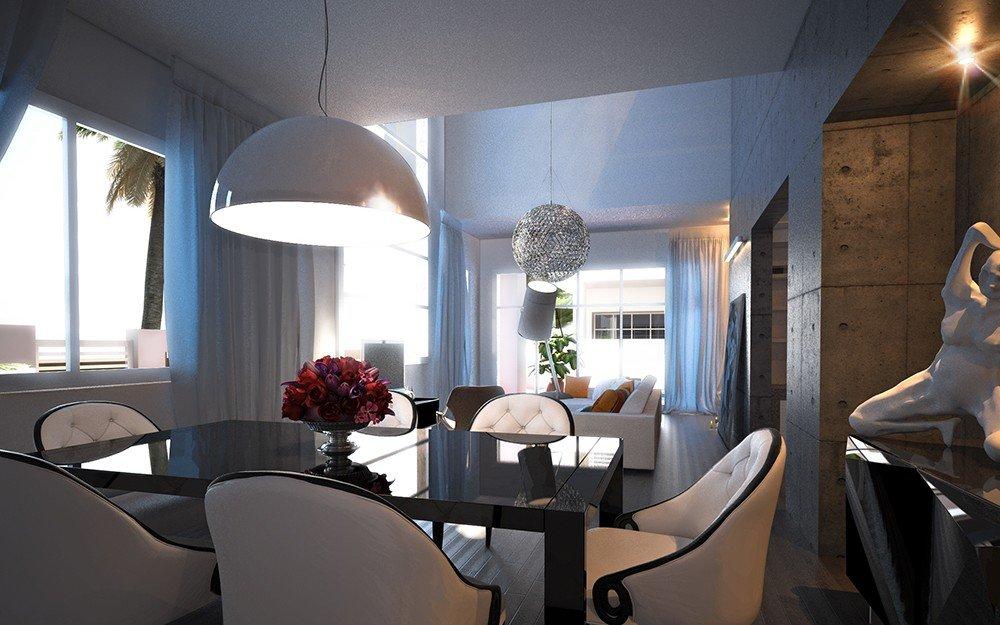 интериорен дизайн на трапезария и дневна в бяло