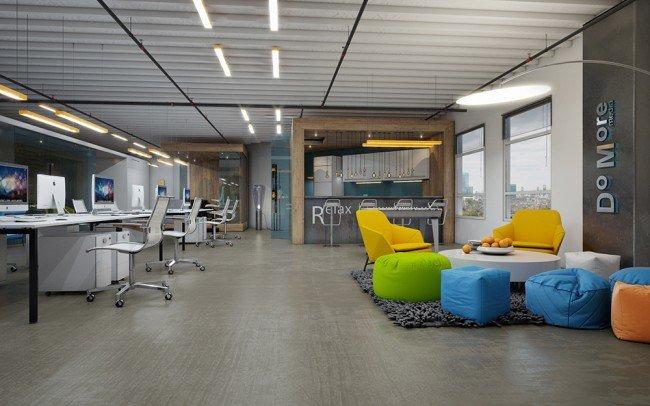 дизайн на офис с отворени пространства в свежи цветове