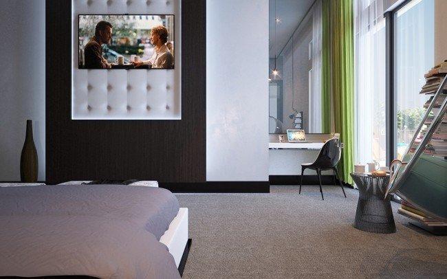 вътрешен дизайн на спалня с легло и бюро