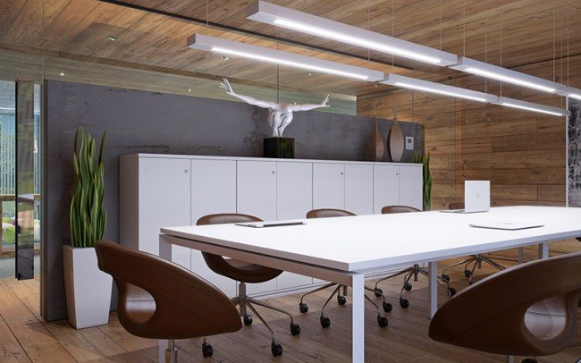 интериорен дизайн на зала за срещи в офис