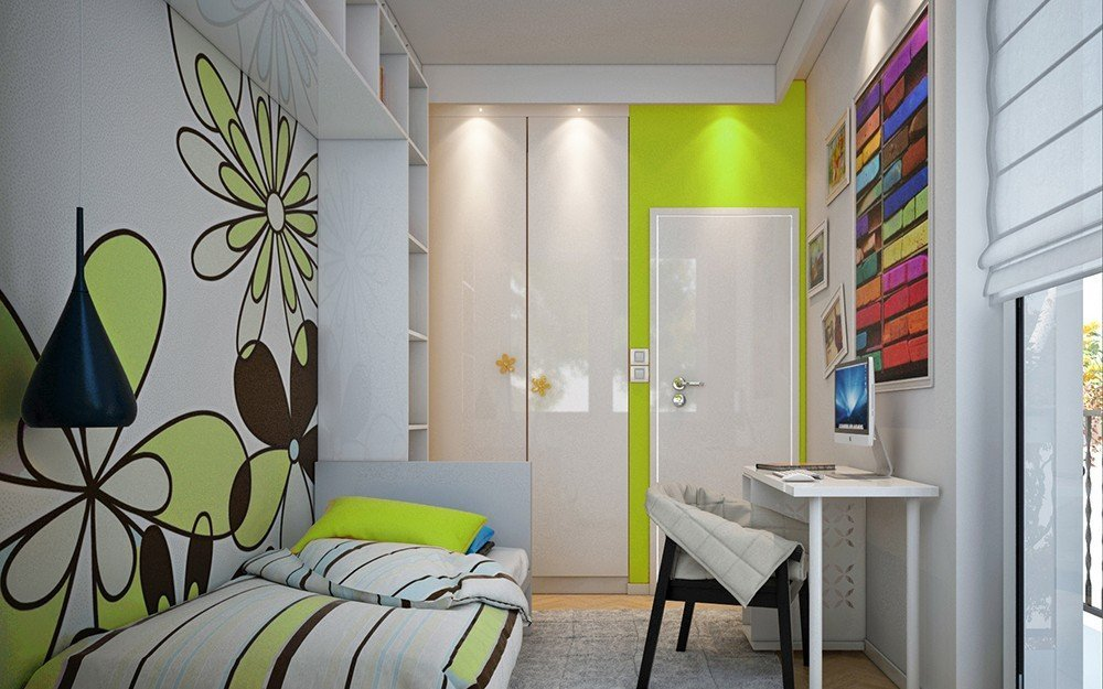 дизайн на детска стая в бяло и зелено