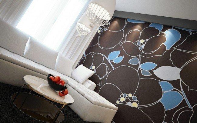 интериорен дизайн на дневна с флорални мотиви