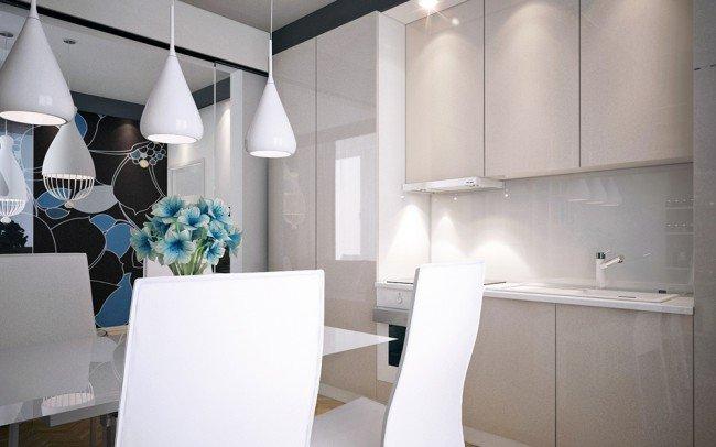 дизайн на дневна и кухня в бяло