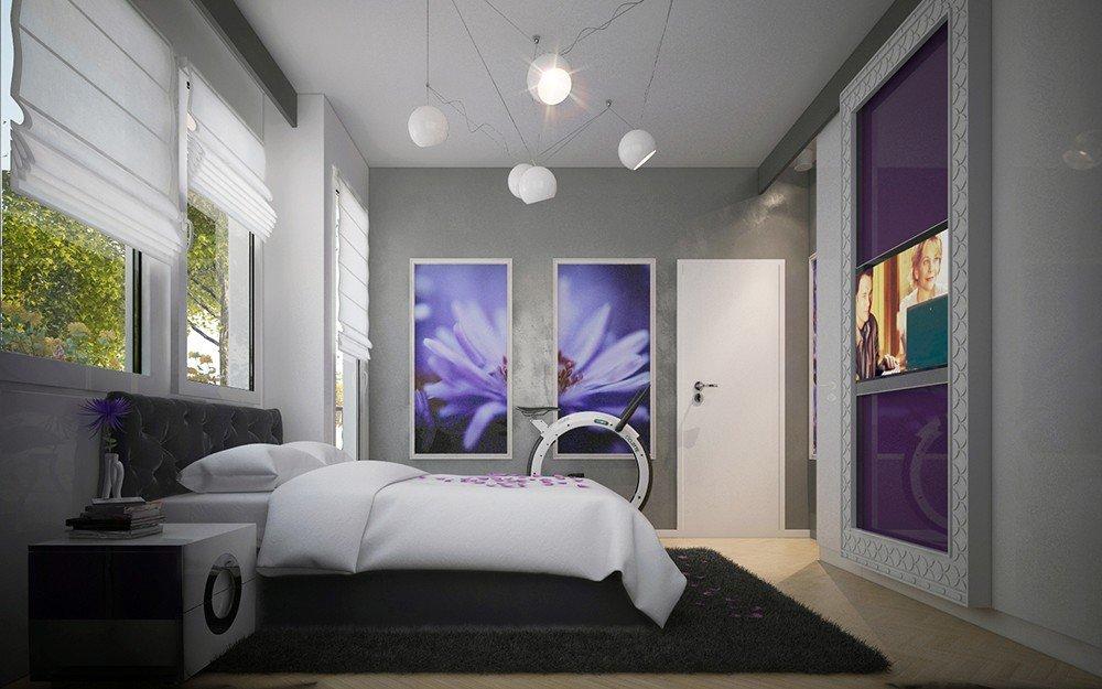 вътрешен дизайн на спалня в лилаво