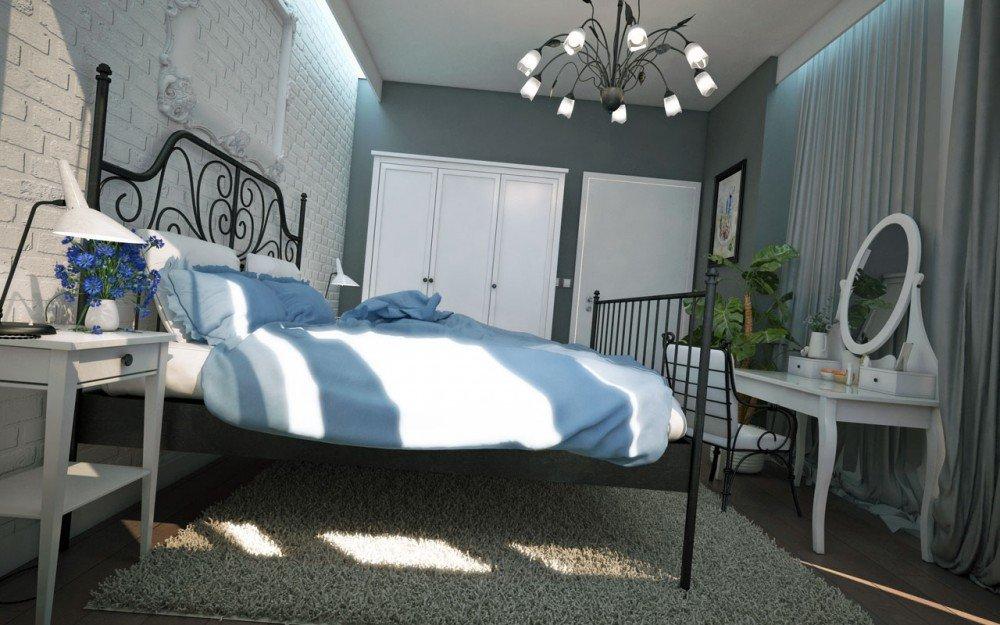 интериорен дизайн на малка спалня в бяло