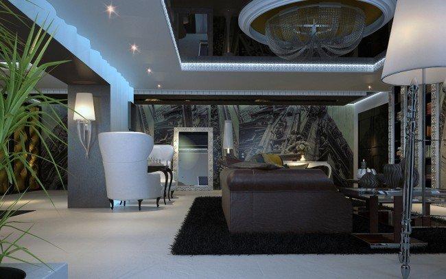 интериорен дизайн на дневна за апартамент