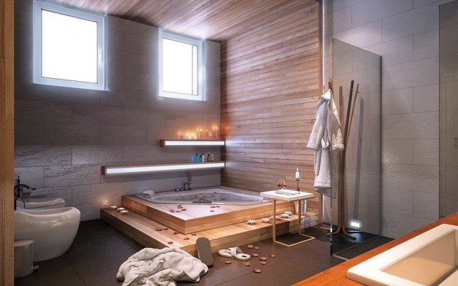 вътрешен дизайн на баня към спалня