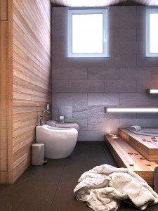 джакузи от дърво за голяма баня