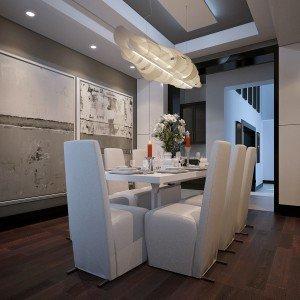 дизайн на трапезария в бяло