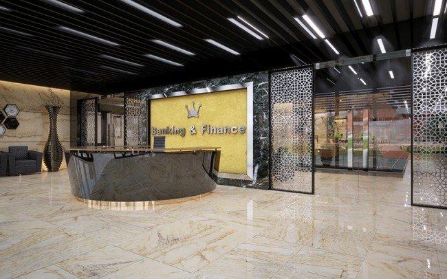 дизайн на приемна в клон на банка