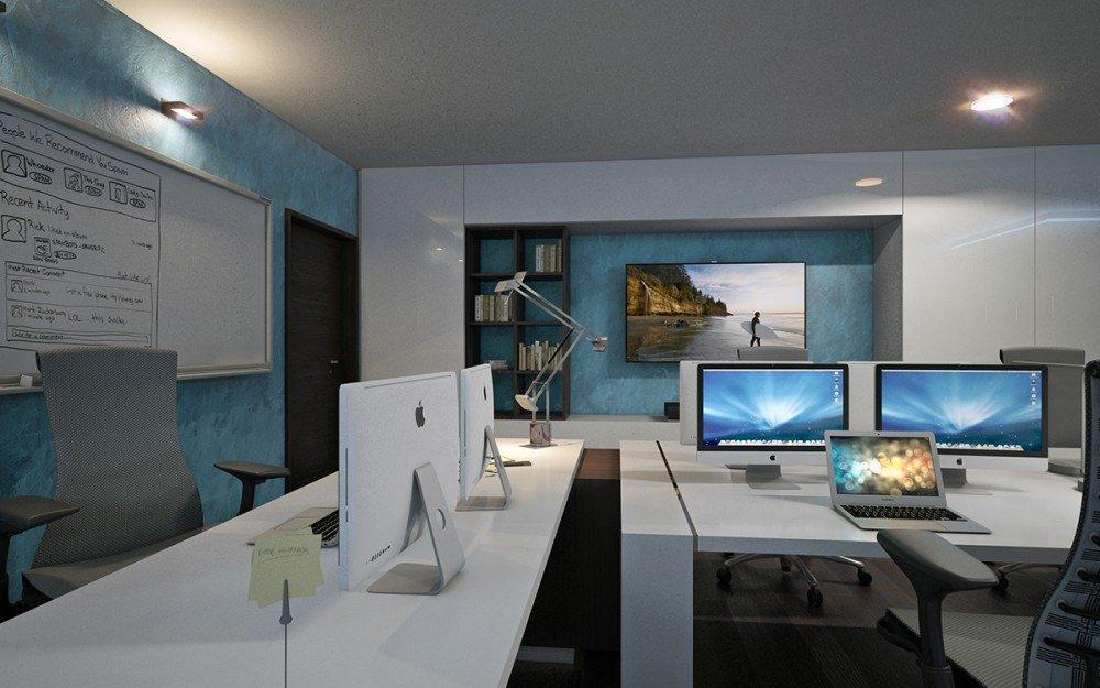 работна зона на домашен офис в бяло
