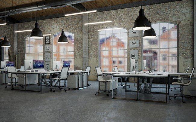 вътрешен дизайн на офис с бели мебели