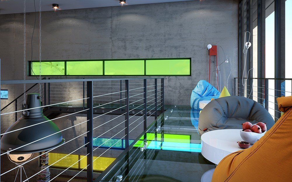 зона за релакс на второ ниво в свежи цветове