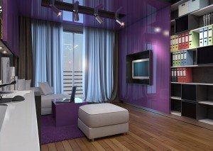 интериорен дизайн на домашен офис в лилаво