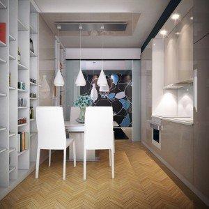 трапезария и кухна в бяло