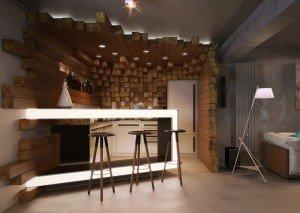 дизайн на бар и кухна в дневна