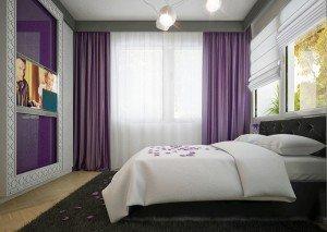 обзавеждане на спалня в лилав цвят архитекти Чолаков Гонгалов
