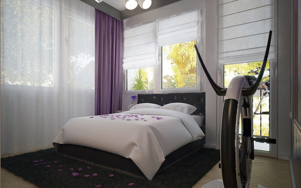 интериорен дизайн на спалня в лилаво