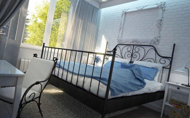 вътрешен дизайн на спалня с метално легло