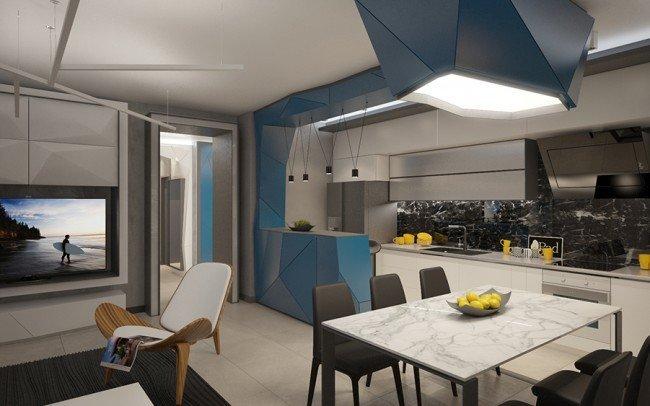 модерен дизайн на гостна стая в сиво и синьо