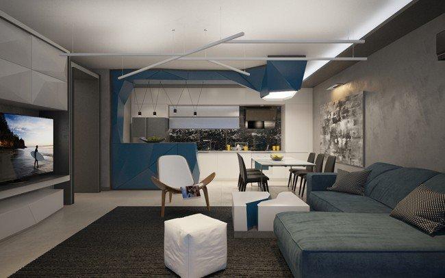 дизайн на интериор на гостна стая в модерен стил
