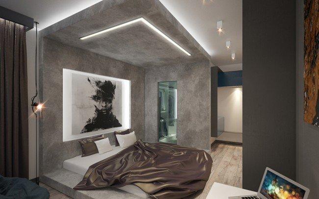 дизайн на интериор на спалня в сиво