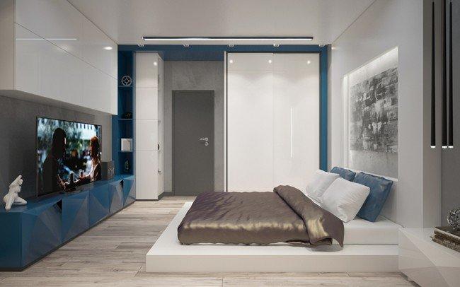 вътрешен дизайн на апартамент и спалня за гости в изчистен стил
